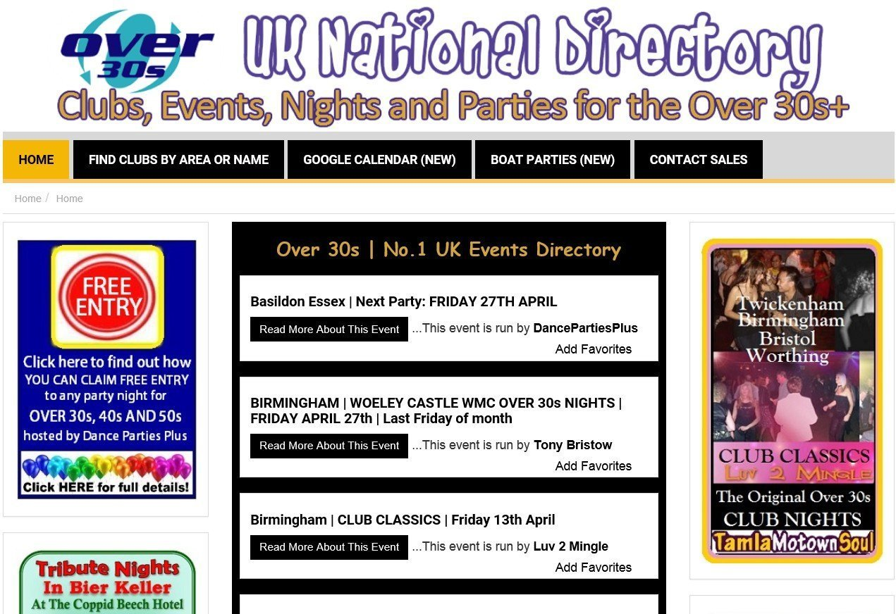 Over 30s Nights Events List