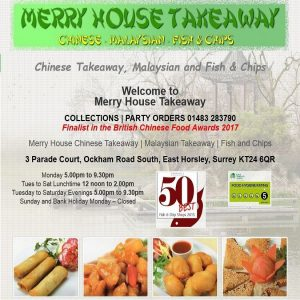 Merry House Chinese Takeaway in East Horsley Surrey